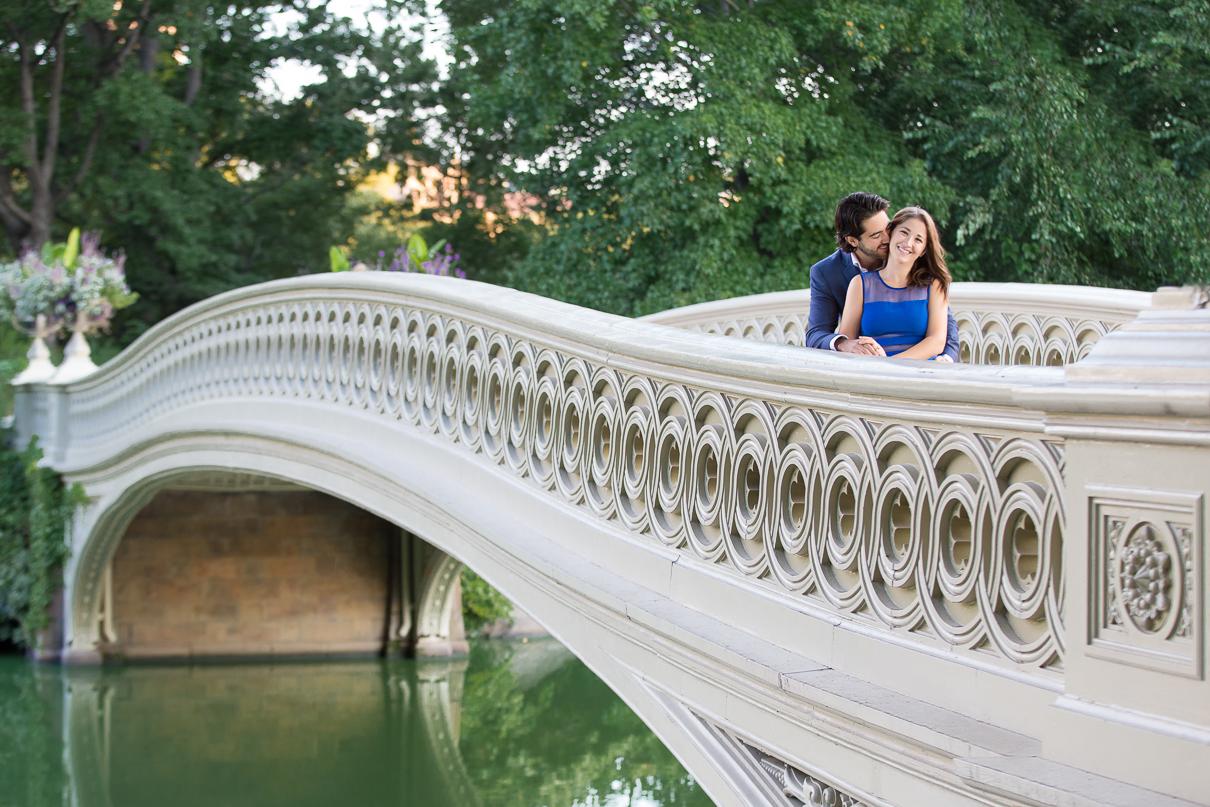 NYC Wedding Photographer Central Park Bridge engagement photos