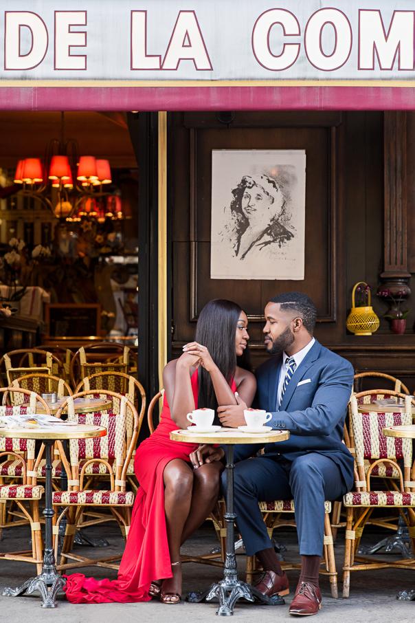 Paris engagement photos Paris cafe de la Comedie