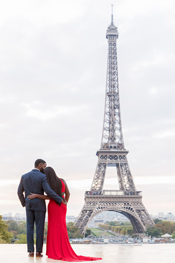 Paris engagement photos at the Eiffel Tower Trocadero at sunrise