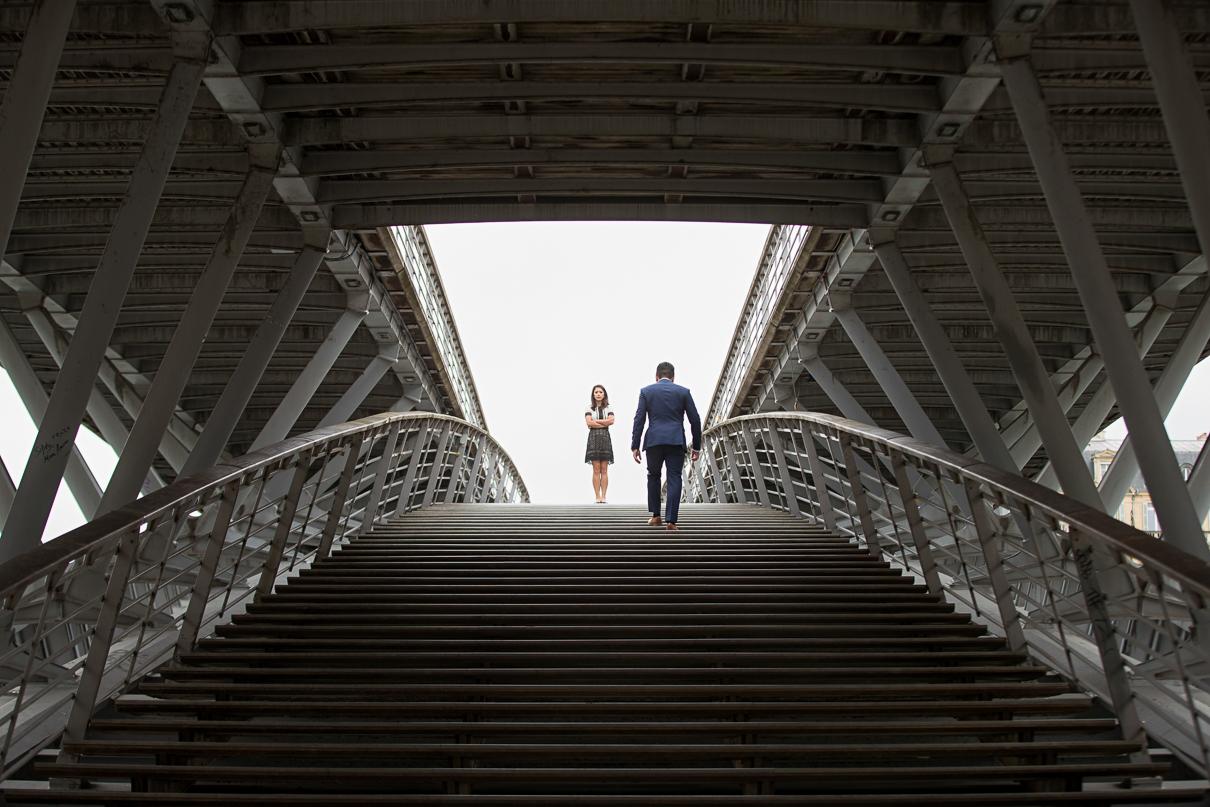Paris pre-wedding photos bridge by Seine River