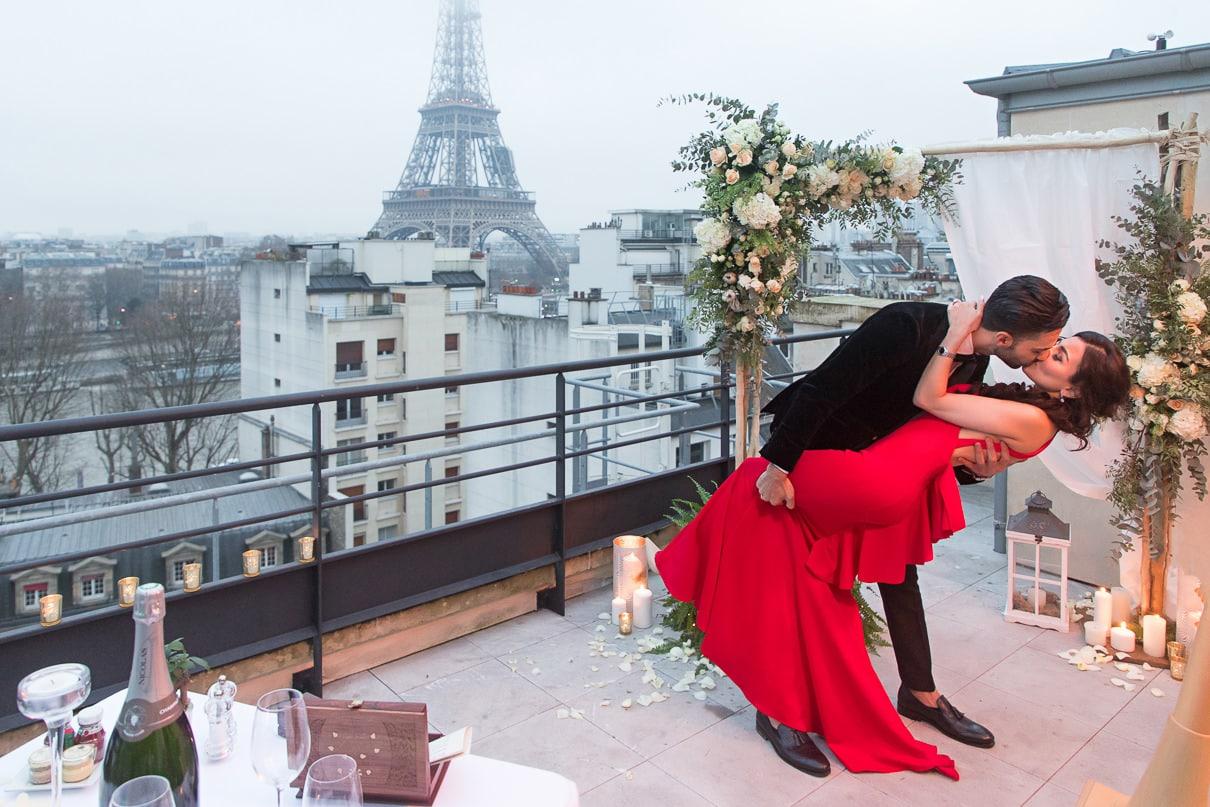 Shangri-La Luxury Paris proposal on an exclusive rooftop with ha