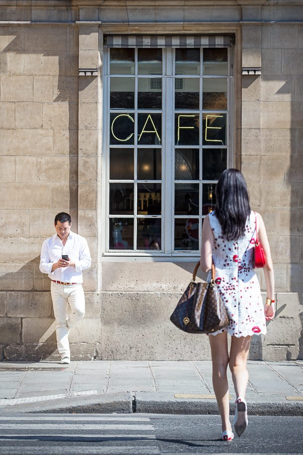 Paris photographer Paris engagement photos near the Louvre Museum