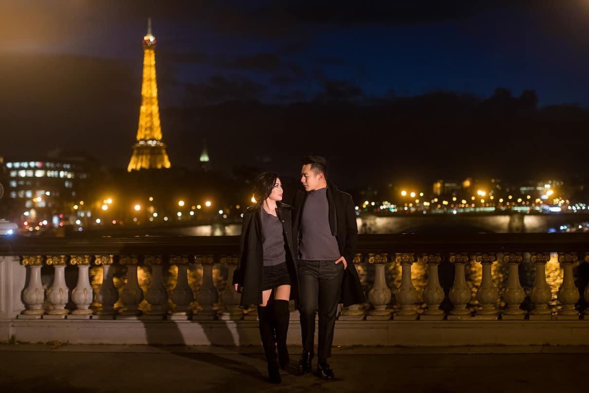 Paris photographer paris engagement photos Alexander III Bridge