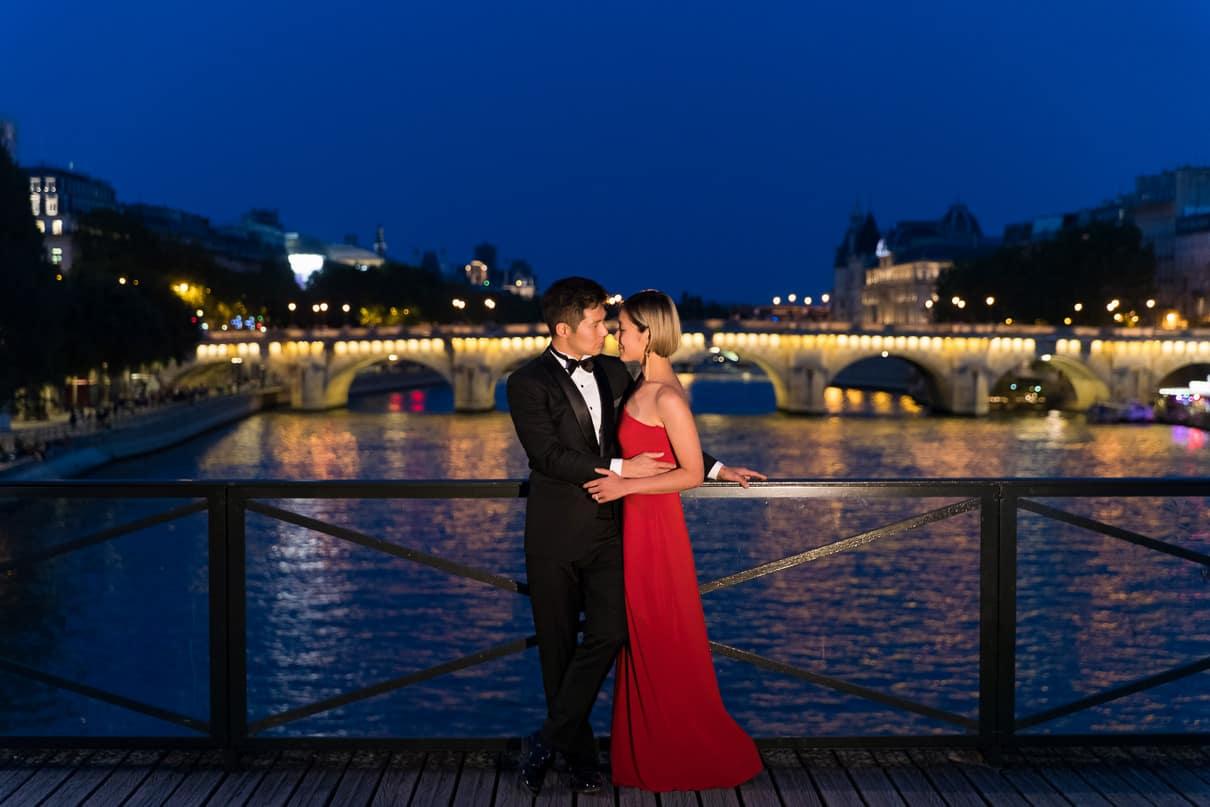 Paris photographer paris engagement photos Seine River Blue Hour