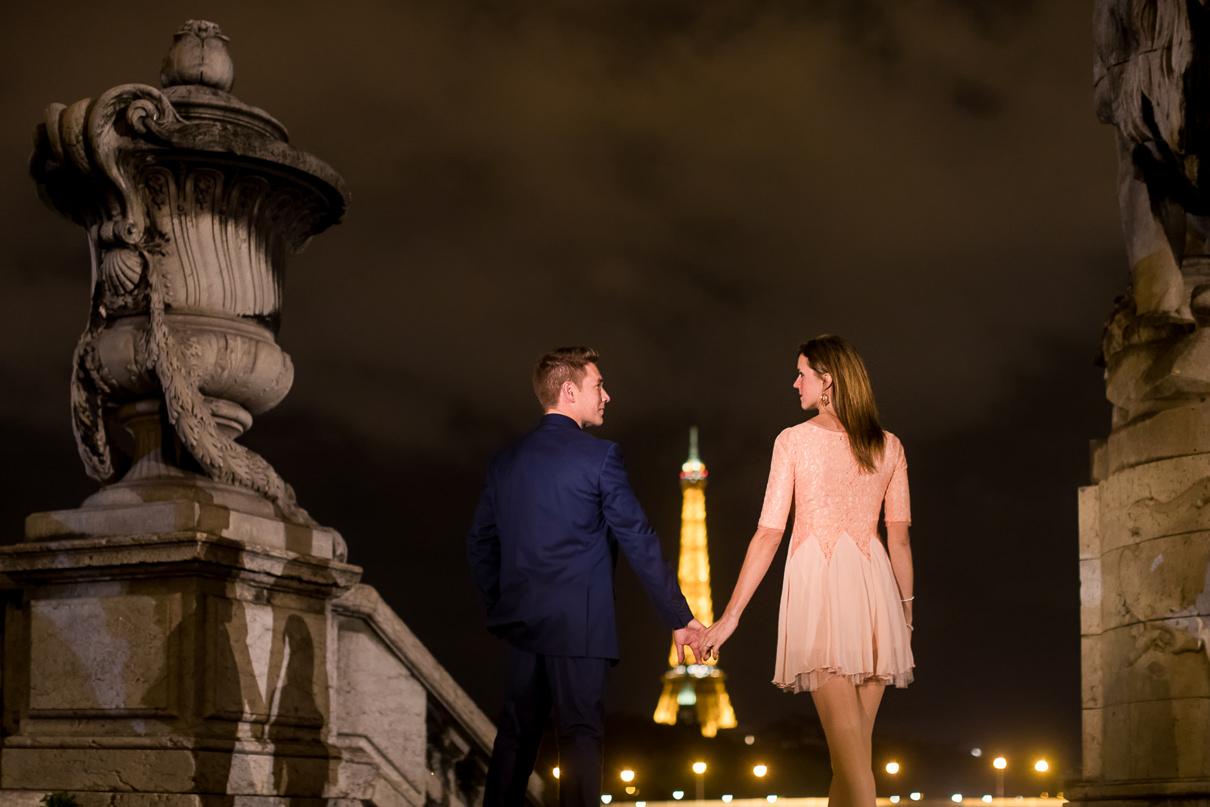 Paris engagement photos Alexander III at night