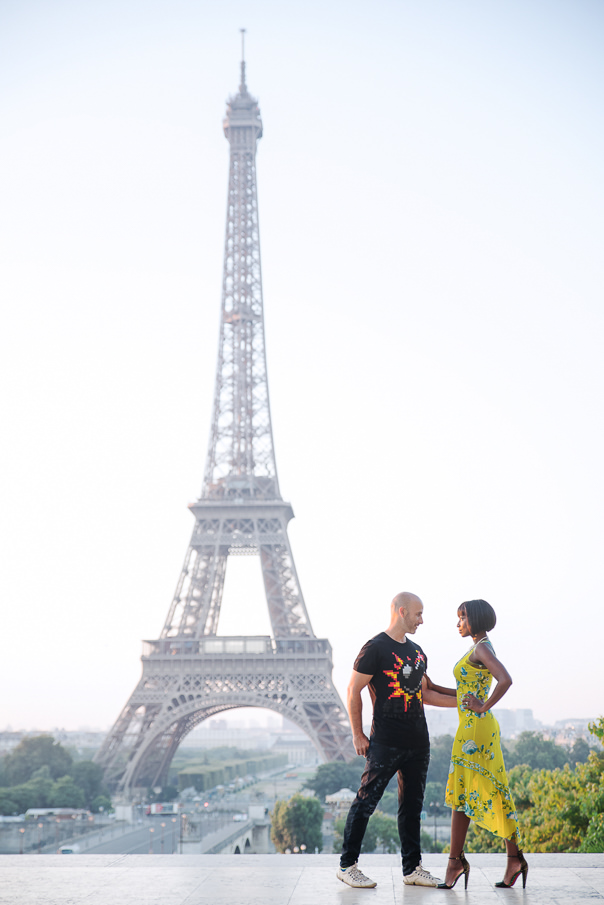 Paris engagement photos Eiffel Tower Trocadero at sunrise