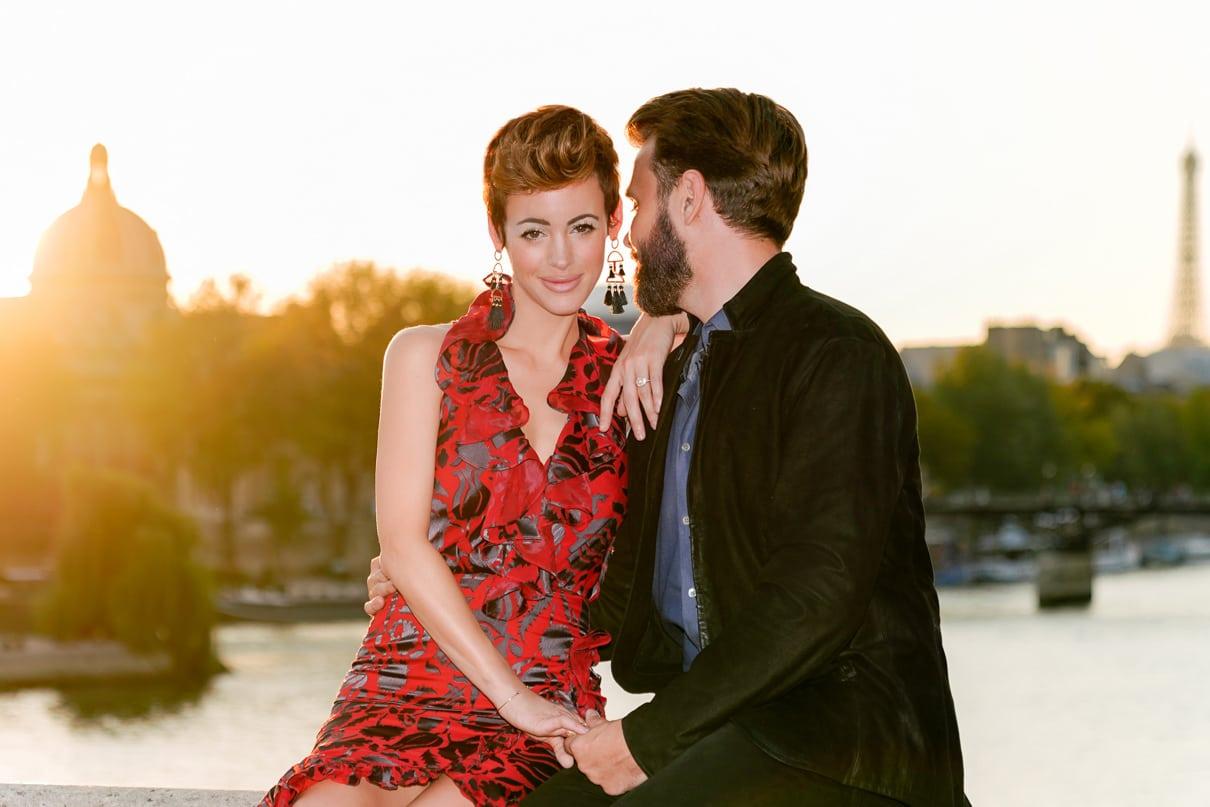 Paris engagement photos along the Seine at sunset-5911