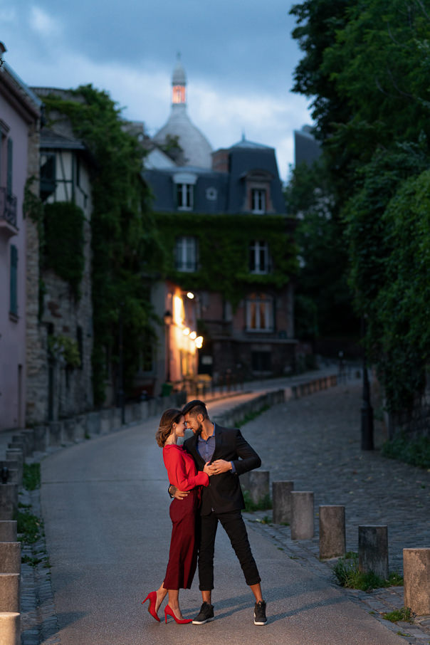 Paris engagement photos at Montmartre at night