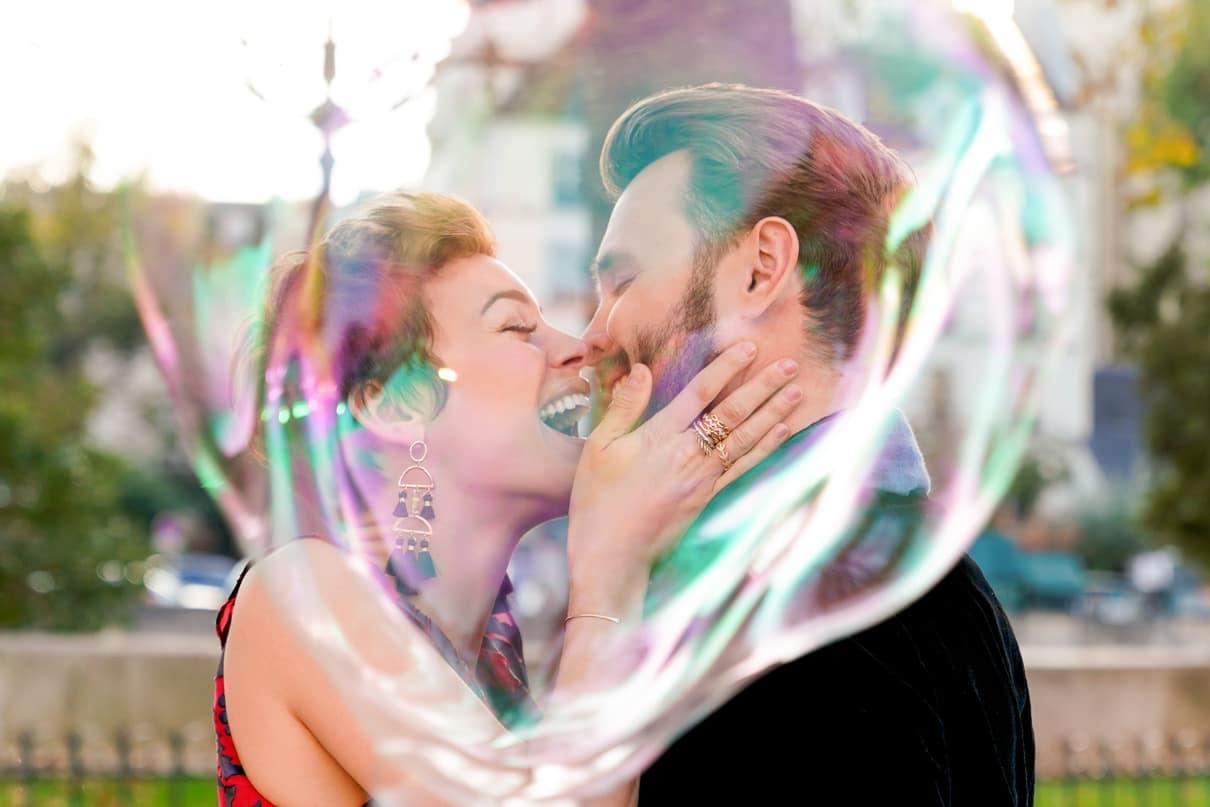 Paris engagement photos at Notre Dame Giant Bubble props