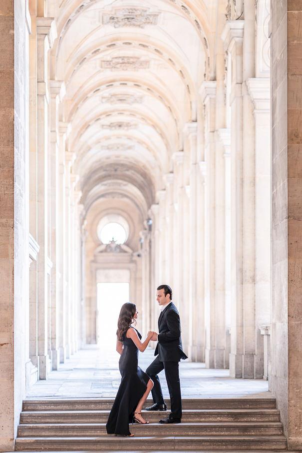 Paris engagement photos at Palais Royal