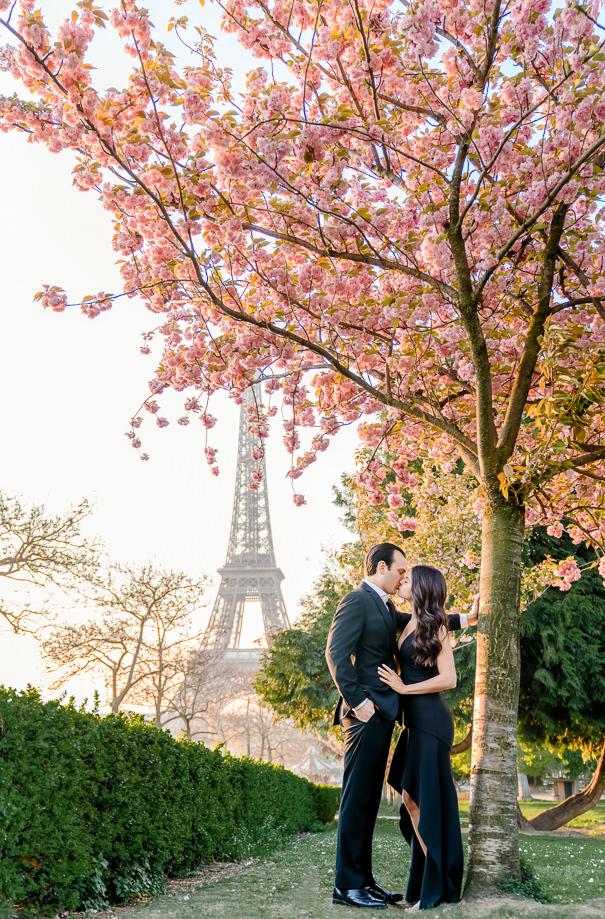 Paris engagement photos at the Eiffel Tower at sunrise