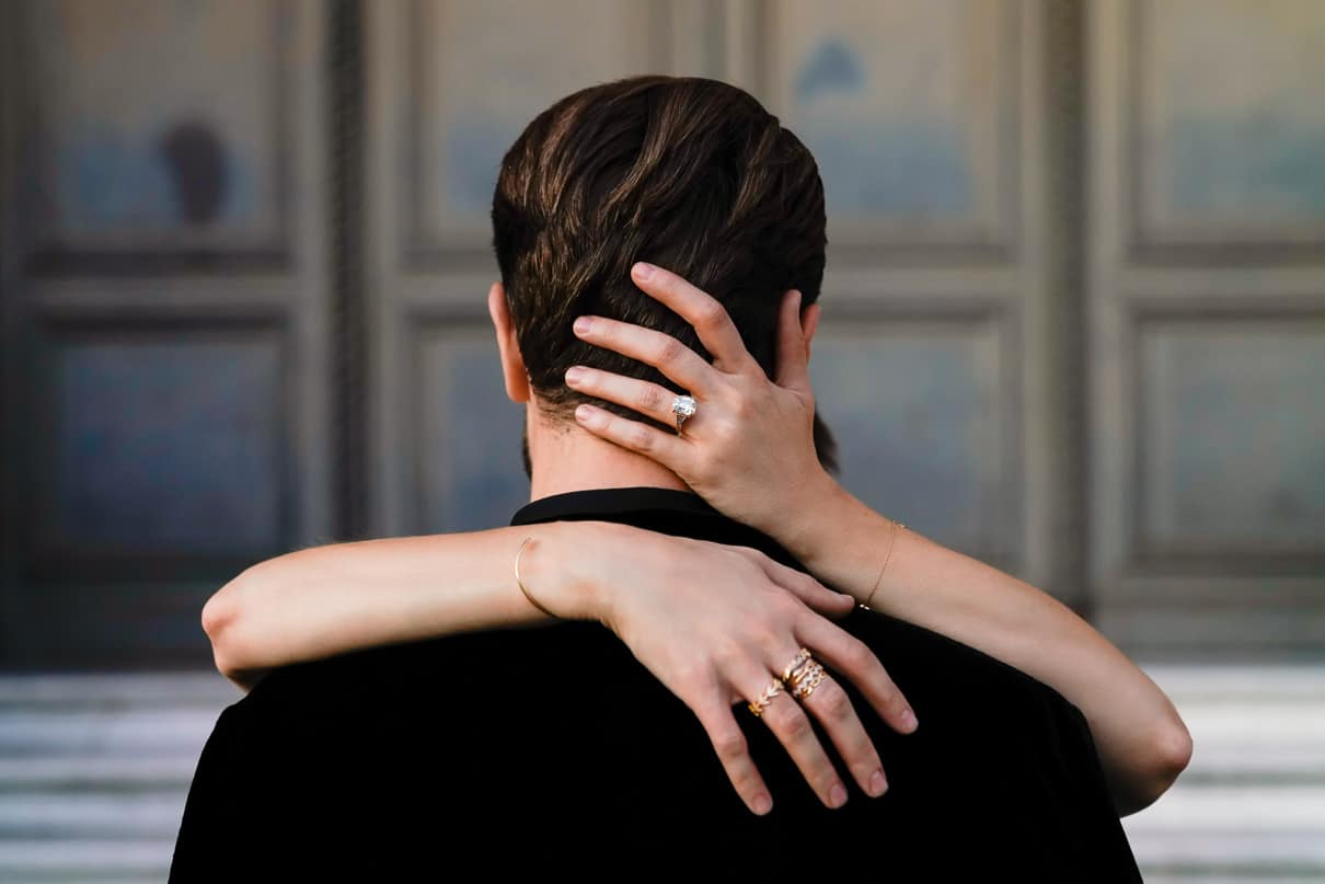 Paris engagement photos at the Louvre Museum engagement ring