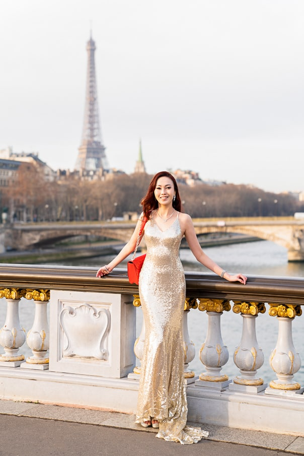 Paris photographers Engagement photos at Alexander III Bridge